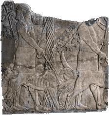 Assyrer-mit-Molosser-Tablette de pierre représentant un Assyrien avec un molosse.